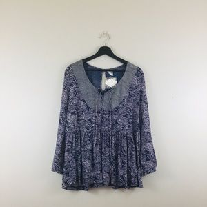 Anthropologie | Purple & Gray Detailed Blouse